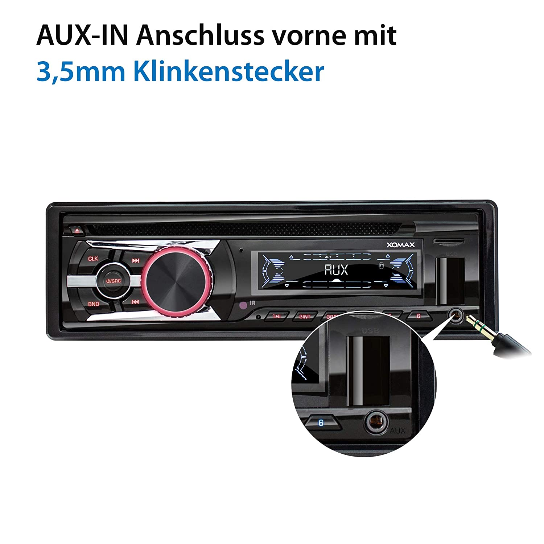 Micro SD I 2X AUX I 7 Beleuchtungsfarben einstellbar I 1 DIN XOMAX XM-CDB623 Autoradio mit CD-Player I Bluetooth Freisprecheinrichtung I USB