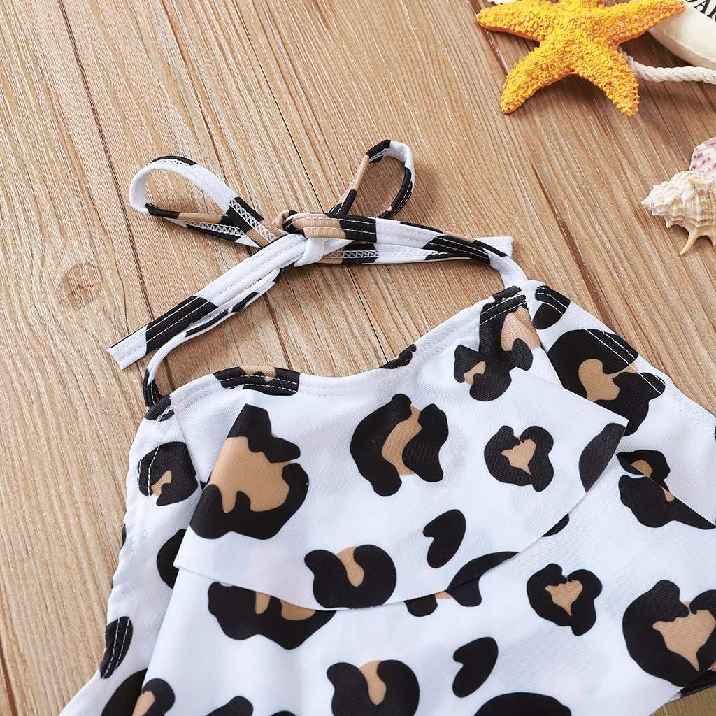 MODNTOGA Toddler Baby Girls Swimsuit Backless Ruffle One-Piece Swimwear Bathing Suit Tankini
