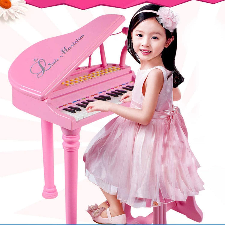 QPPWJ- Teclado De Piano para Niños De 31 Teclas, Órgano Electrónico De Juguete Educativo, con Micrófono Y Taburete Más Firme, Niños, Bebés, Niños Pequeños Pink