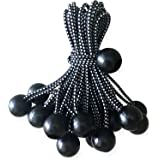 ABCCANOPY Heavy Duty Ball Bungee Canopy Tarp Tie Down Cord Elastic String Ball Bungee tarp Ball Ties(Black&White 30pcs