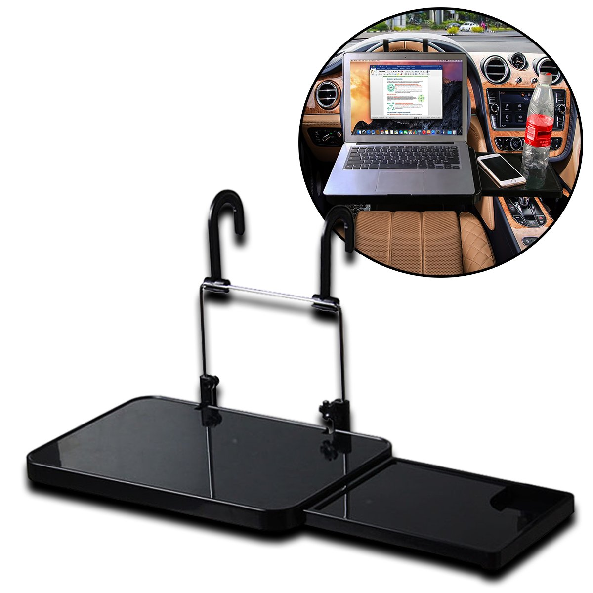 Zento Deals Sturdy Portable and Foldaway Vehicle Multi Tray Drinks and Laptop Holder Black Multipurpose Car Seat Tray Desk Tray Folding Portable Car Seat Tray Convenience Food