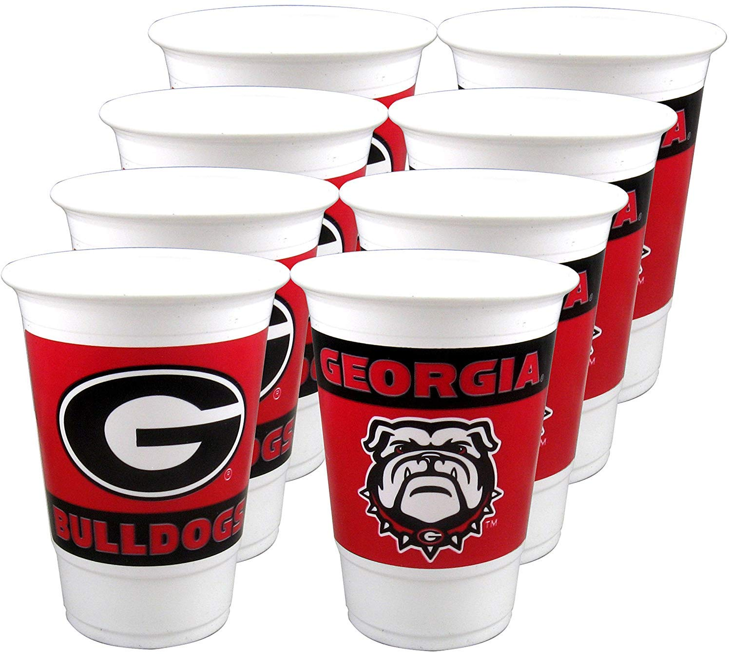 Georgia Bulldogs White, Black & Red Cups (Pack of 24-16 OZ Cups) by Party