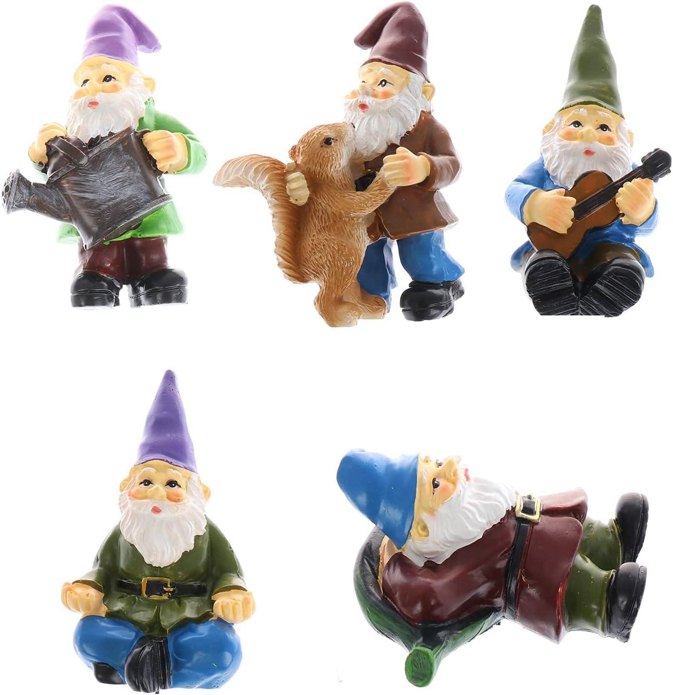Uoeo Miniature Gnome Figurines Set of 5 - Fairy Gardens Dwarfs Statue Accessories for DIY Dollhouse Decor Outdoor Home Decoration