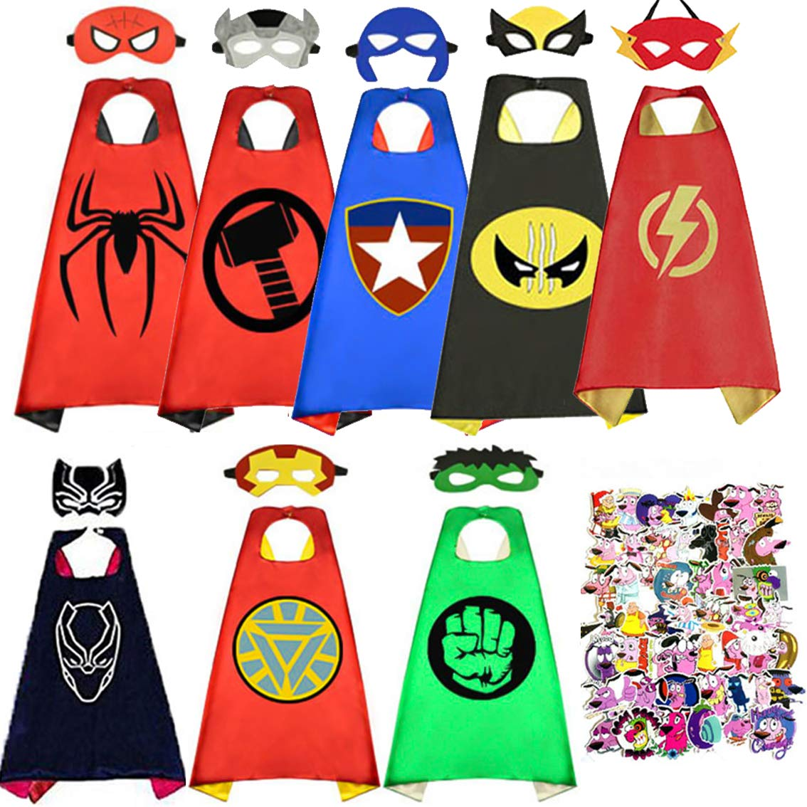 Superhero Capes for Kids,Satin Capes and Mask Dress Up Costumes with 50pcs Waterproof Stickers for Party Supplies