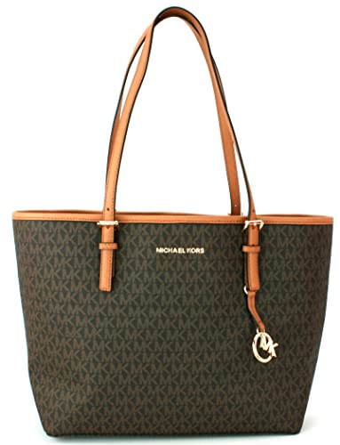 bd9b8681216c Michael Kors Shopper Tote Bag Monogram PVC Coated Canvas Jet Set Travel  Handbag (Large,