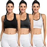 Padded Strappy Sports Bras for Women - Activewear Tops for Yoga Running Fitness Pack of 3
