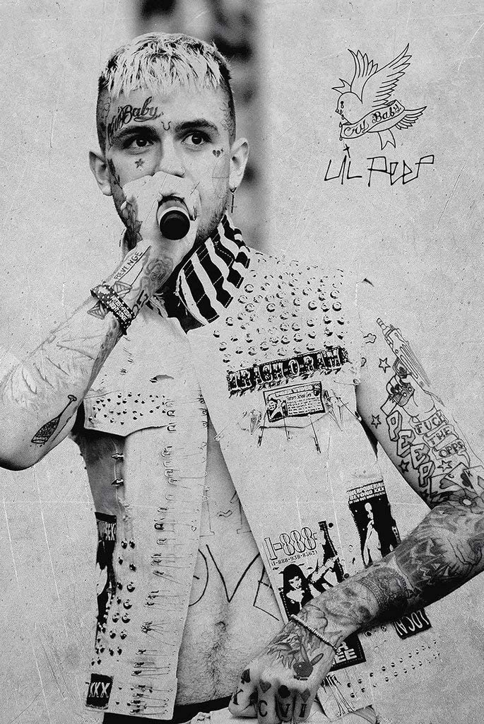 Lil Peep Tattoos Black And White Hip Hop Poster 24 X 36 Inches Amazon Ca Home Kitchen