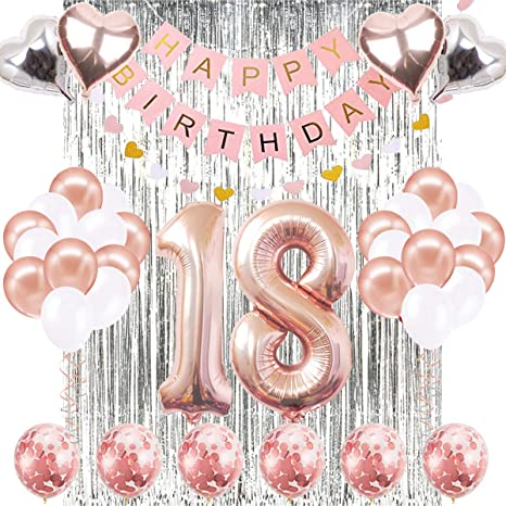 18th Birthday Decorations Banner Balloon, Happy Birthday Banner, 18th Rose Gold Number Balloons, Number 18 Birthday Balloons, 18 Years Old Birthday ...