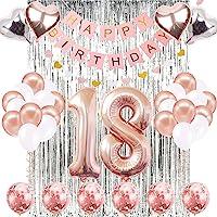 18th Birthday Decorations Banner Balloon, Happy Birthday Banner, 18th Rose Gold Number Balloons, Number 18 Birthday…