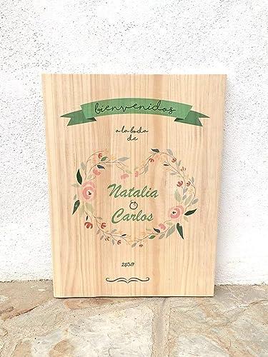 Cartel vintage de madera para bodas - Bienvenidos a nuestra ...