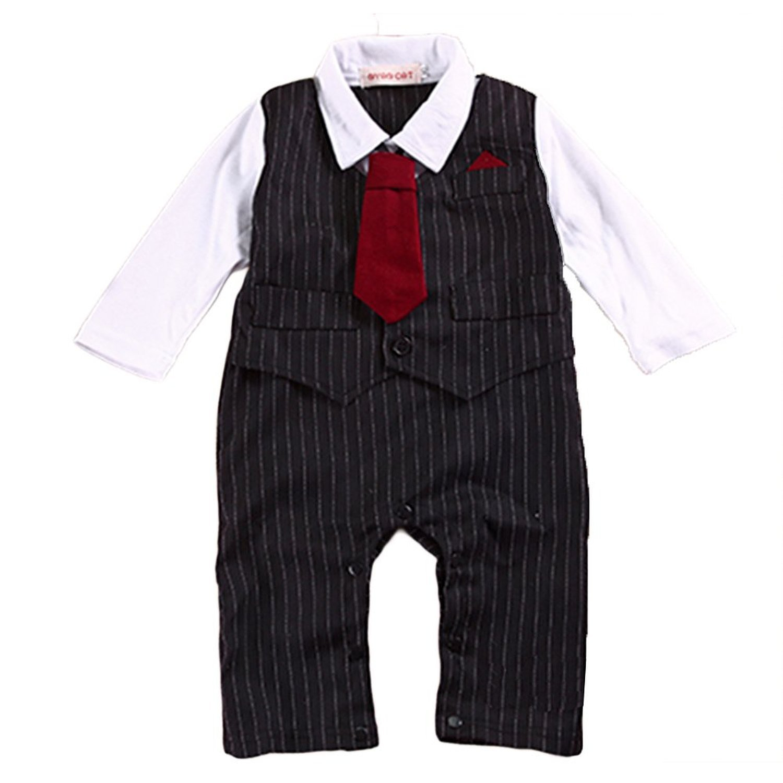 EGELEXY Baby Tie Striped Vest Formal Wear Wedding Baby Boy Romper Oneise
