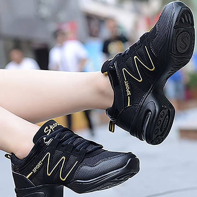 ec72a70dfeb4 YIBLBOX Womens Mesh Ballroom Dance Sneakers Lightweight Comfortable Jazz  Shoes  Amazon.co.uk  Clothing