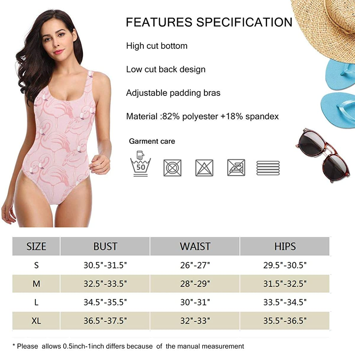 Womens One Pieces Swimsuits Flip Flops Printed Beach Suits with Soft Cup