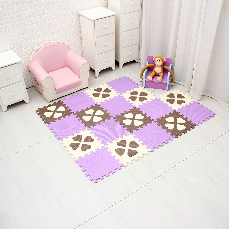 b18N Flor de Cuatro Hojas qqpp Alfombra Puzzle para Ni/ños Bebe Infantil 6 Suelo de Goma EVA Suave 18 Piezas QQP-27 30*30*1cm