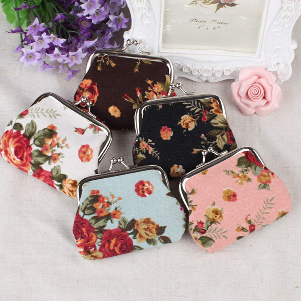 Acamifashion Vintage Flower Canvas Hasp Clutch Buckle Coin Purse Cash Card Holder Bag
