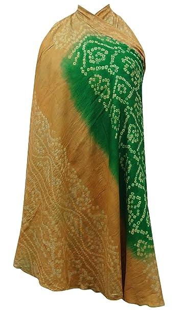 Indianbeautifulart Vintage de Seda Pura Reversible Sari Impresa de Las Mujeres Vestido Largo de la Magia