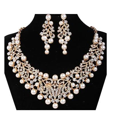 257f1598b6 Janefashions Vine Silver Gold Faux Pearl White Austrian Rhinestone Bib  Statement Necklace Collar Choker Earrings Jewelry Set Bridal Wedding Prom  ...