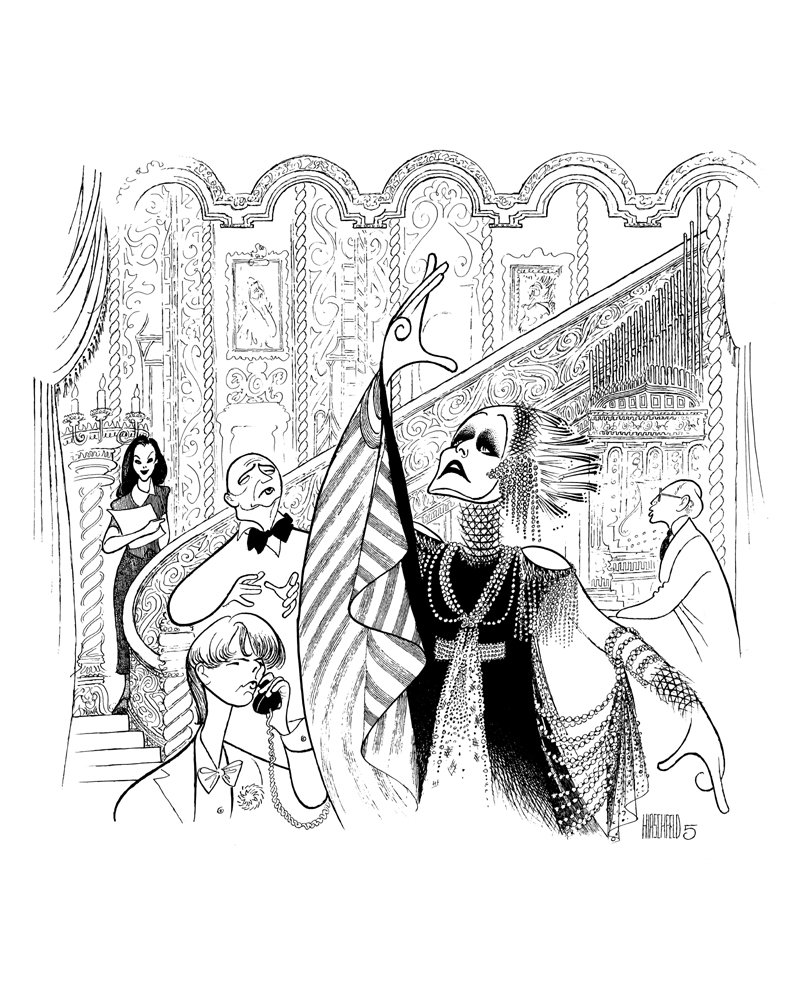 AL HIRSCHFELD Hand Signed, Tony Award Winner Glenn Close in SUNSET BOULEVARD, Limited-Edition Lithograph THE MARGO FEIDEN GALLERIES LTD. New York