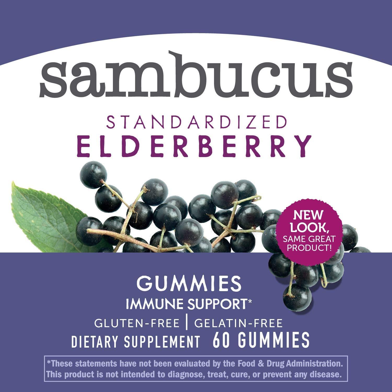 Nature's Way Sambucus Elderberry Gummies, Herbal Supplements with Vitamin C and Zinc, Gluten Free, Vegetarian, 60 Gummies by Sambucus (Image #5)