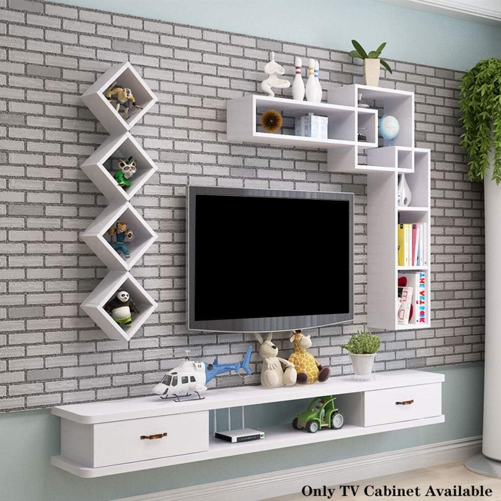 Flotante de TV Estante moderno soporte de pared for TV Montada Consola / Medios consola de entretenimiento Centro de Almacenamiento Estante audio de los medios con cajón de TV Gabinete for cajas