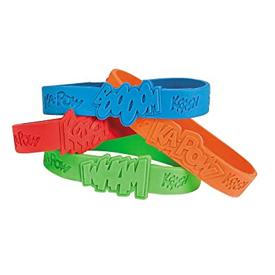 Fun Express Superhero Saying Rubber Bracelets (24 Pieces) Classroom Incentives, School Store Supplies, Party Favors: Toys & Games