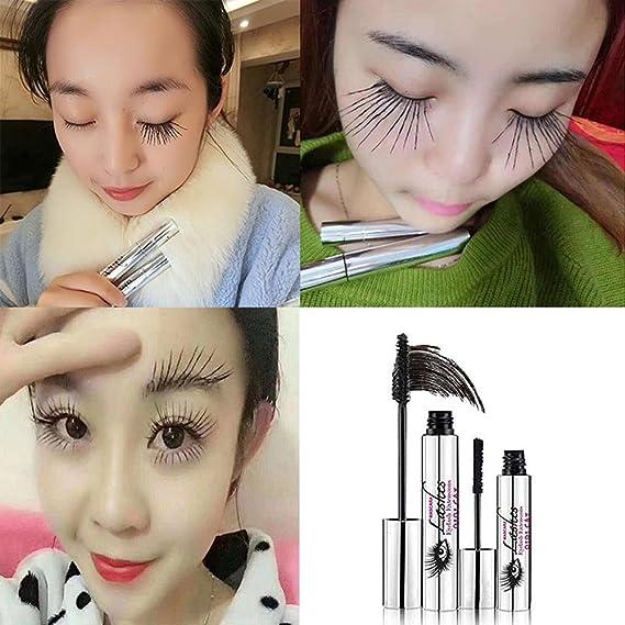 Mascara crema 4D, KOBWA maquillaje pestaña, Mascara resistente al agua fría ojo negro pestañas extensión Crazy de larga duración estilo cálido agua lavable ...