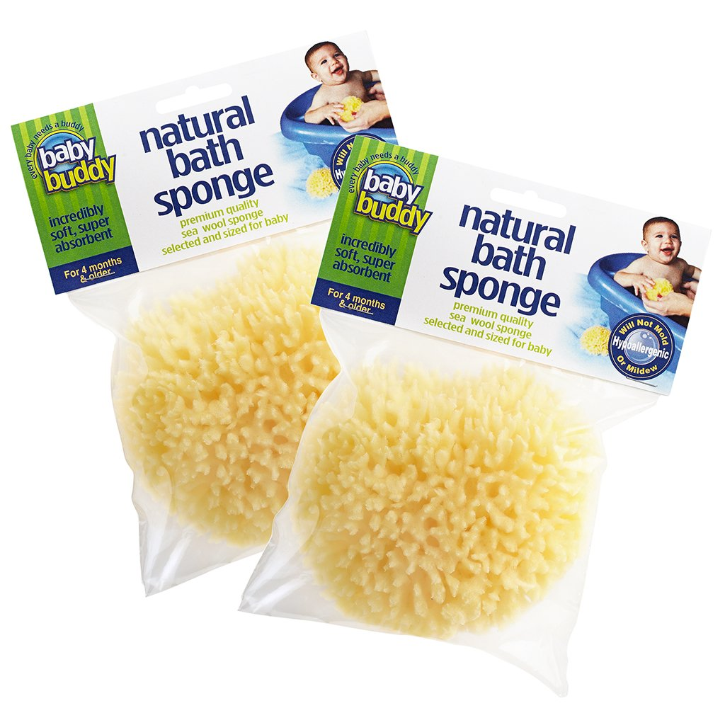 Baby Buddy's Natural Baby Bath Sponge 2 Pack 4-5'' Ultra Soft Premium Sea Wool Sponge Soft on Baby's Tender Skin, Biodegradable, Hypoallergenic, Absorbent Natural Sea Sponge by Baby Buddy