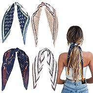 4Pcs Hair Scarf Pleated Hair Scrunchies Hair Bands Chiffon Elastic Ties Print Bandana Ponytail Holder Vintage Accessories for Women Girls