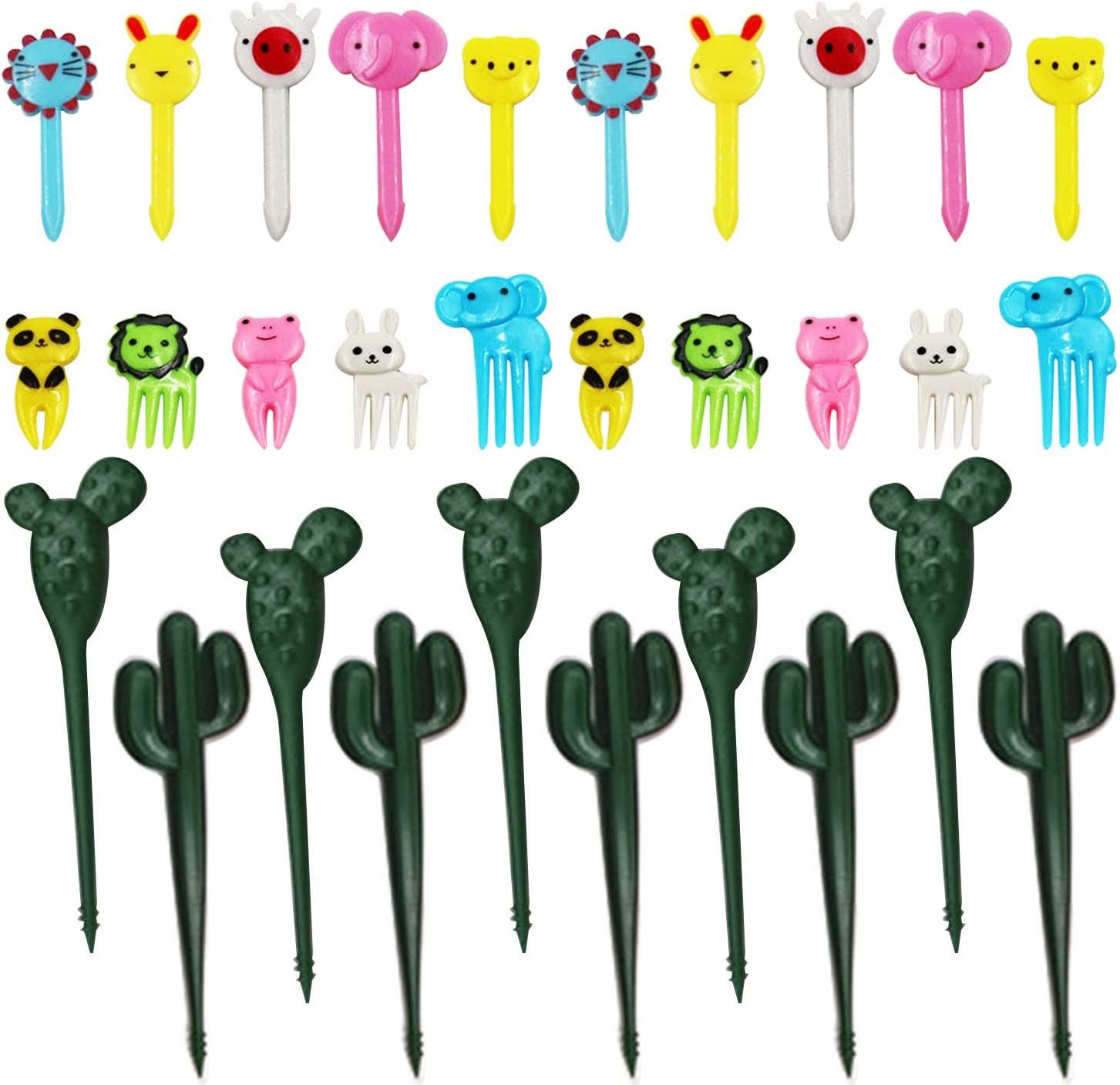 30Pcs Animal Fruit Food Picks BAP Free Bento Box Forks Picks Reusable Mini Cute Carton Animal Toothpicks for Kids Toddler Boys Lunchbox Cake Dessert Pastry Party Supply