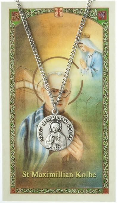 St Maximilian Kolbe Religious Round Medal Silver Tone Pendant with Rhinestones
