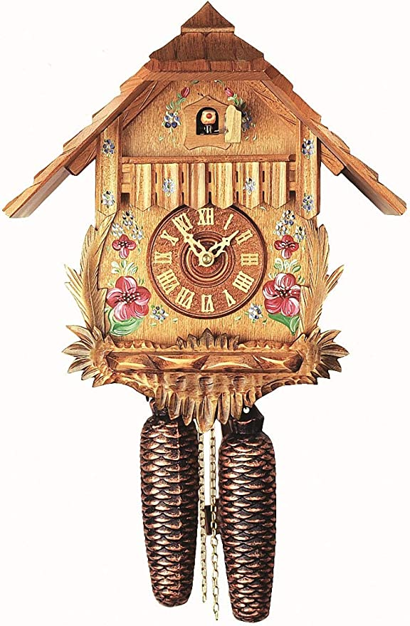 """7"""" Long. NEW CHALET STYLE CUCKOO CLOCK PENDULUM WITH HAND PAINTED FLOWER"""