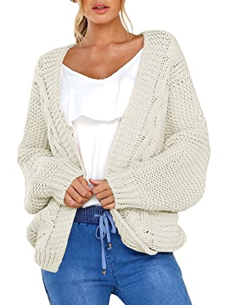 5879e14200 Niitawm Womens Chunky Cable Cardigans Long Sleeve Knit Oversized Cardigan  Sweaters Outwear (S