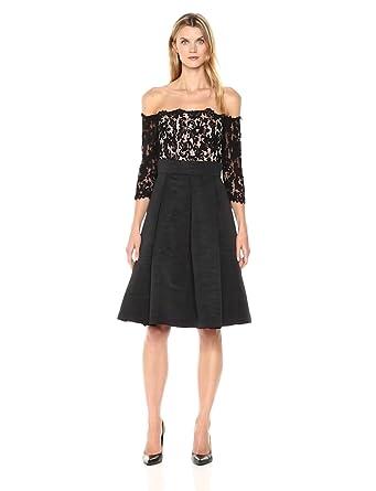 444d61a3a7bd Eliza J Women's Lace Bodice Off-The-Shoulder Dress, Black 4 at ...
