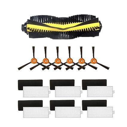 Zeling Eufy RoboVac - Repuesto para Carrito + Cepillo Lateral 6 Piezas + 6 filtros HEPA