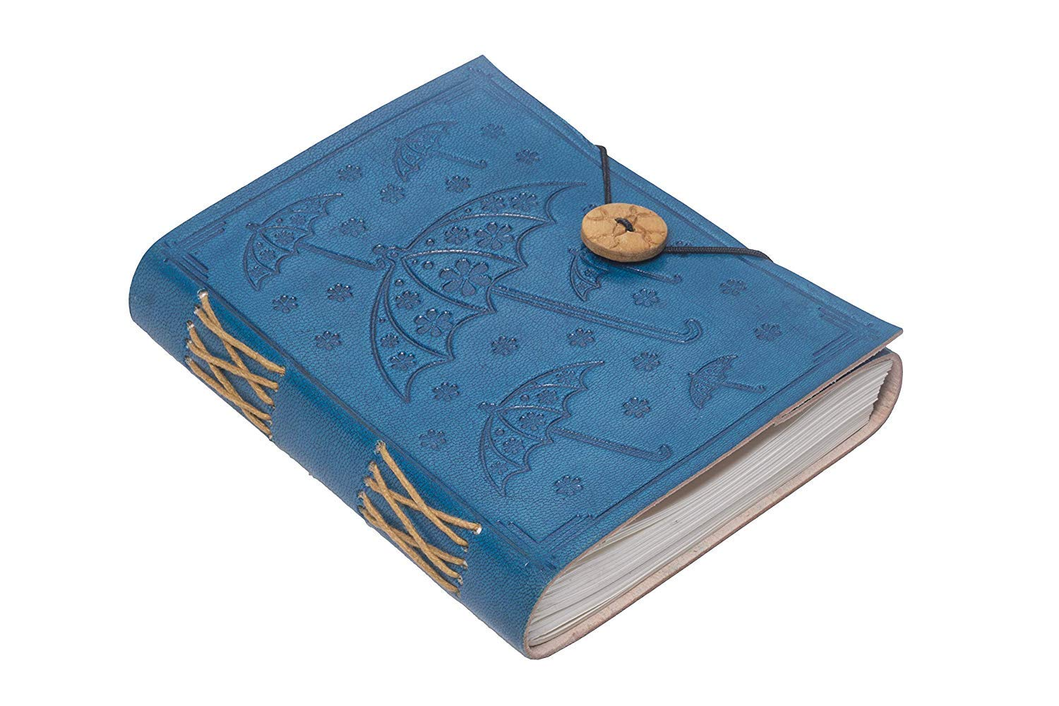 Di-Kraft Handmade Classic Design Leather Notebook Writing Diary For Gift 120 Gsm Blue Diary