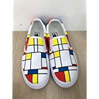 4aada9d6db Mondrian Vans Slipon Custom Shoes Vans Custom Hand Painted Shoes Hand  Painted Vans Slipon Custom Vans