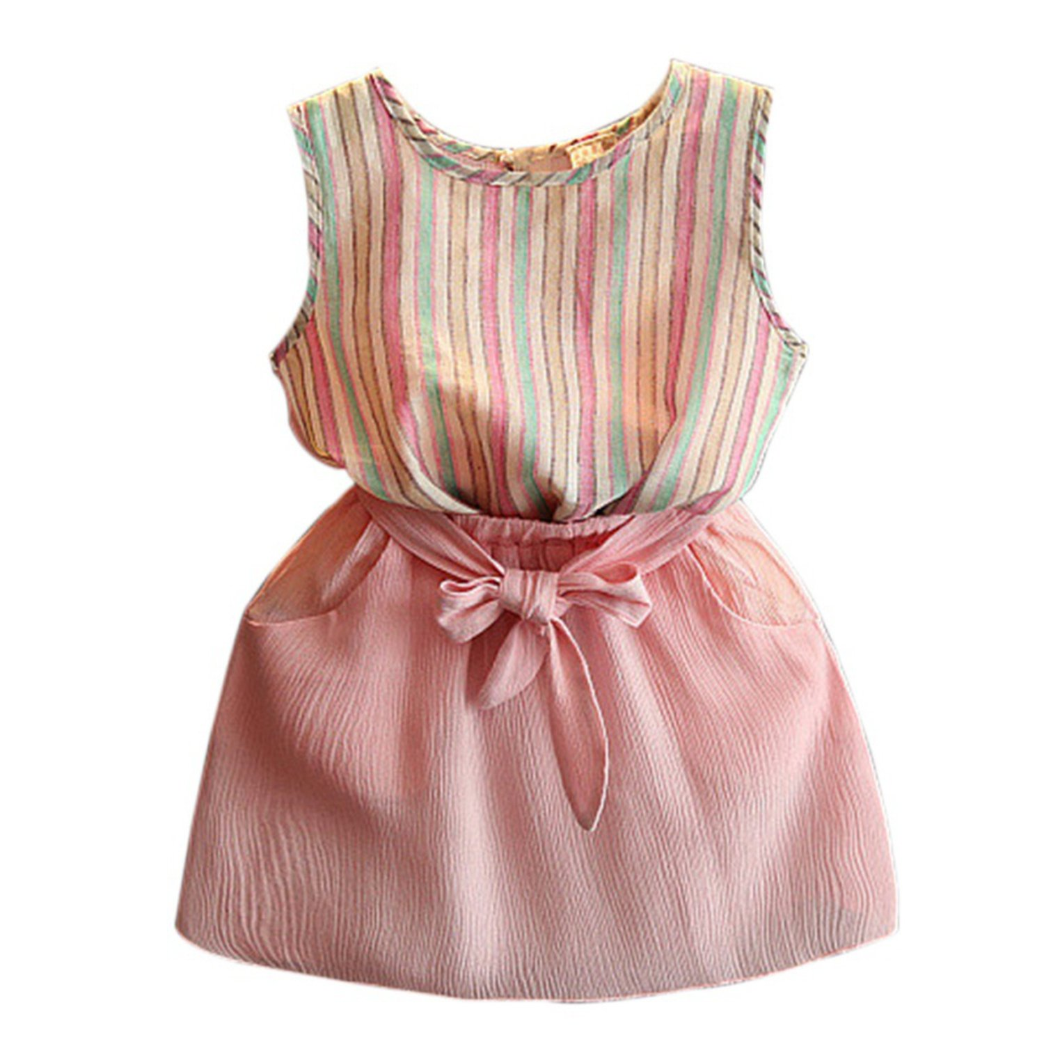 Zcaosma Toddler Kids Girls Clothes Sets Baby Clothes Striped T Shirt + Skirt,Pink,Zt