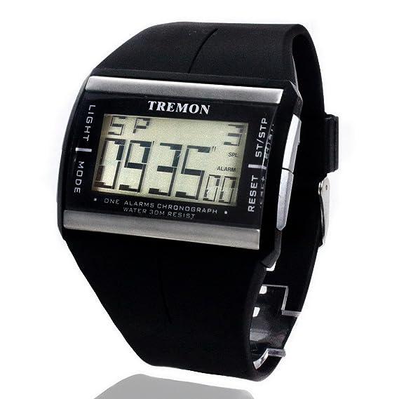 reloj de los hombres se divierte multifuncional LCD calendario digital: Amazon.es: Relojes