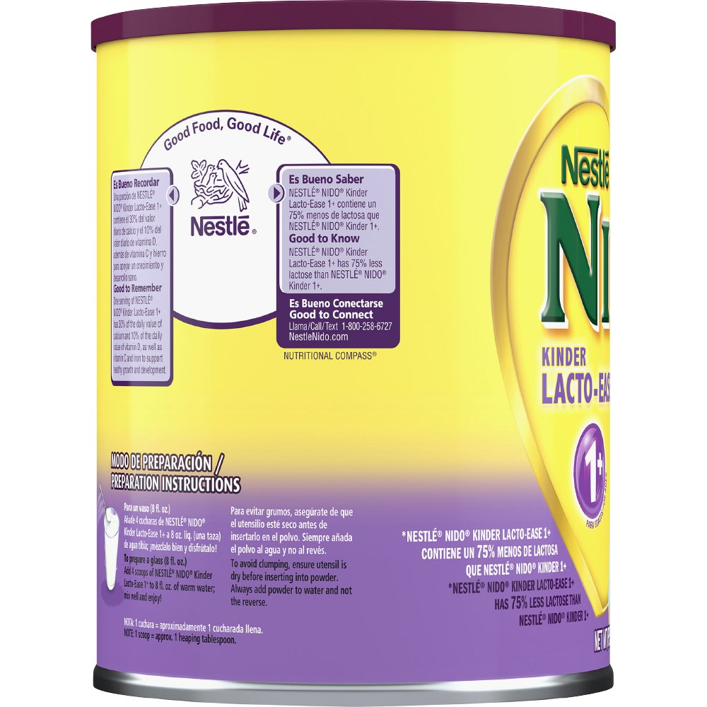 Amazon.com : Nestle NIDO Kinder Lacto-Ease 1+ Reduced Lactoste Fortified Powdered Milk Beverage 1.76 lb. Canister : Grocery & Gourmet Food