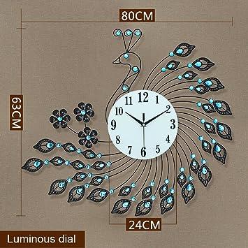 Amazon De Bidesen Startseite Deko Pfau Wand Uhr Kreative Wohnzimmer
