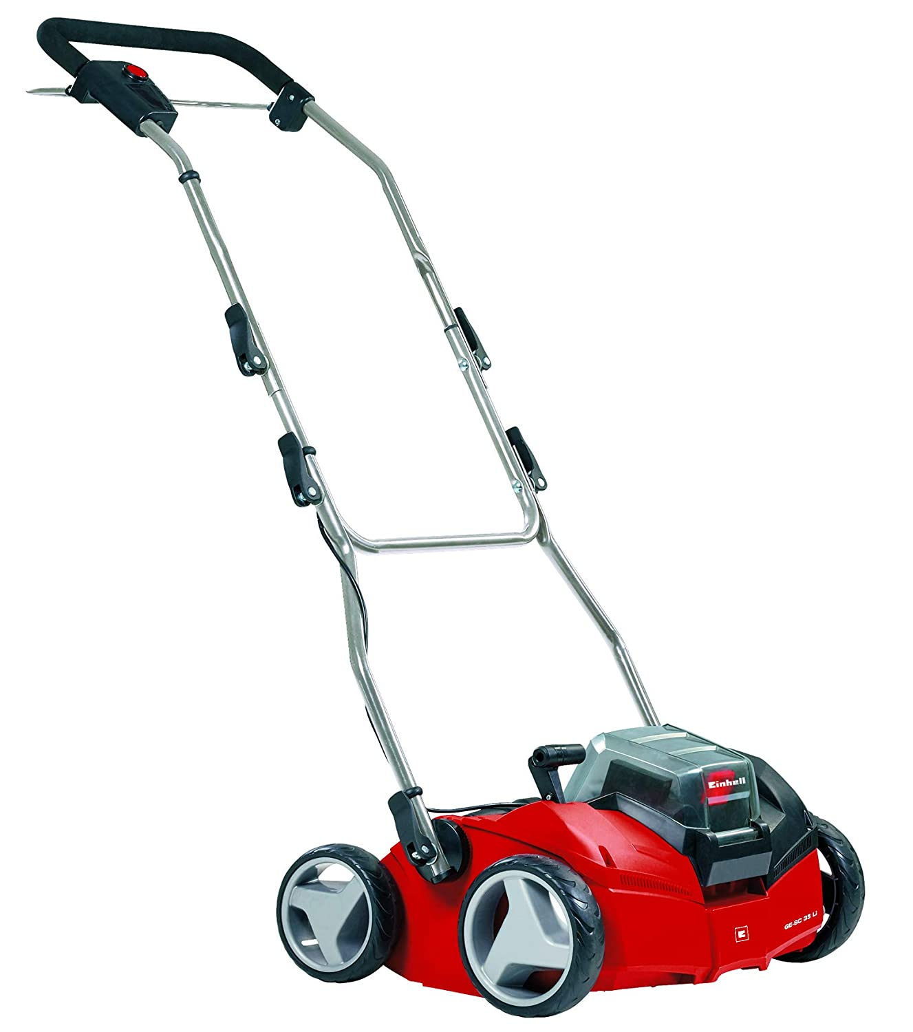 Einhell GE-SC 35 Li Solo Power X-Change 36 V Cordless Lithium-Ion Scarifier and Lawn Aerator (2 x 18 V, Working Width 350 mm, Wheel Diameter Front/Rear 175/152 mm, Without Battery and Charger) - Red 3420650