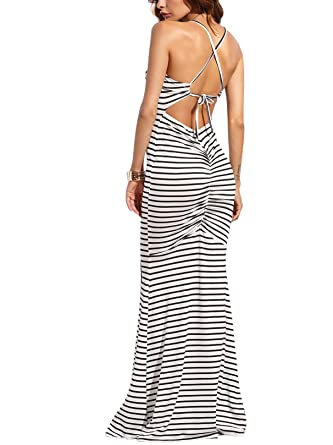 9a65b4e02e7 ... Back Maxi Long Jersey Dress  big sale b6d0d 7f130 Jollymoda Womens  Strappy Backless Sexy Summer Evening Party Maxi Dress (White ...