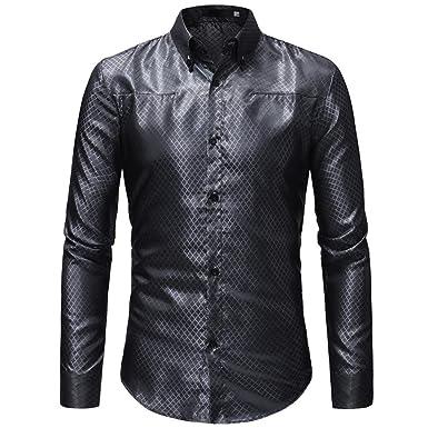 Hffan Herren-Hemd Retro Einfach Geringes Profil mit Kragen Shirt Tops  Oberteile Plaid Langarm- 0cfeec603f