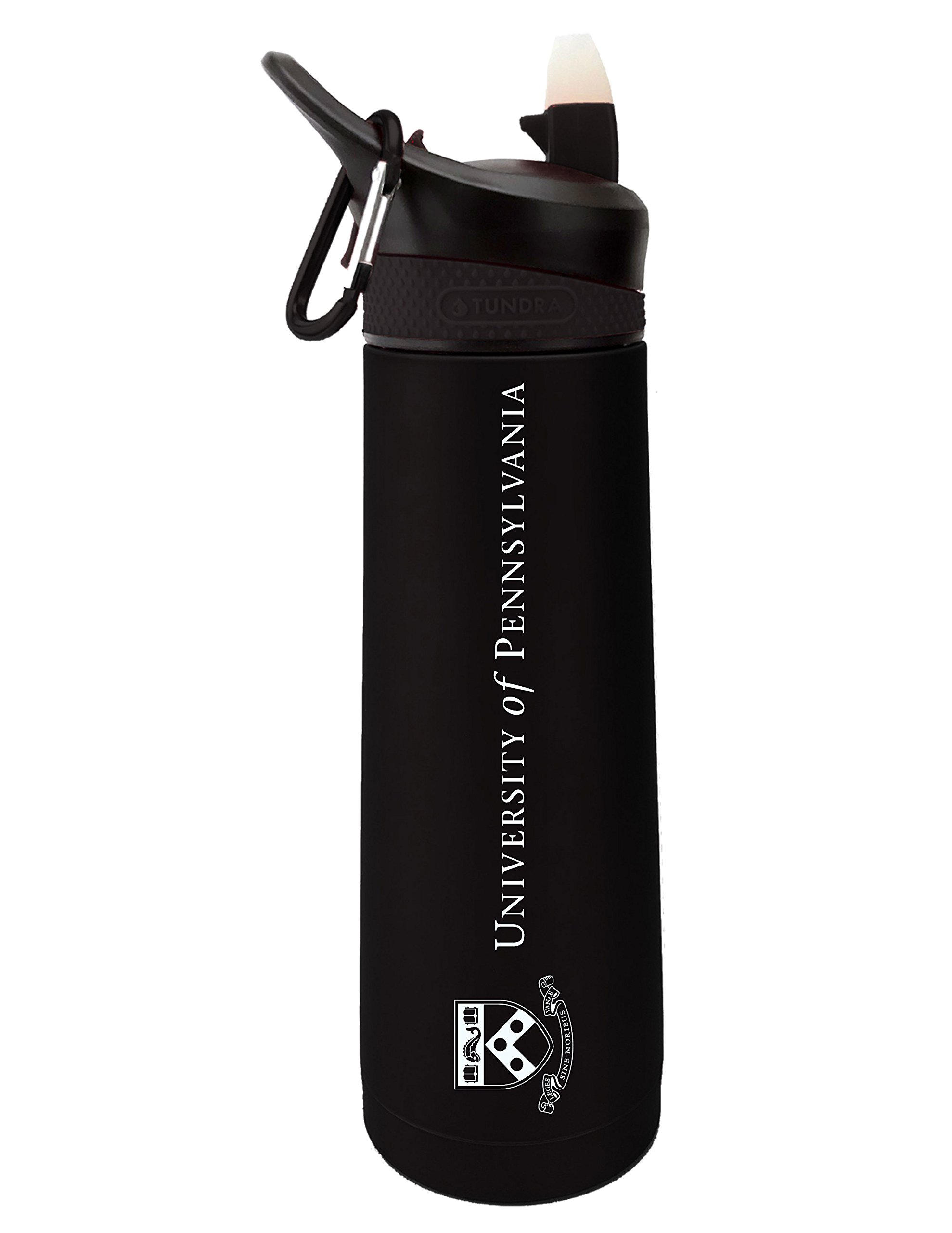 Fanatic Group University of Pennsylvania Dual Walled Stainless Steel Sports Bottle, Design 2 - Black