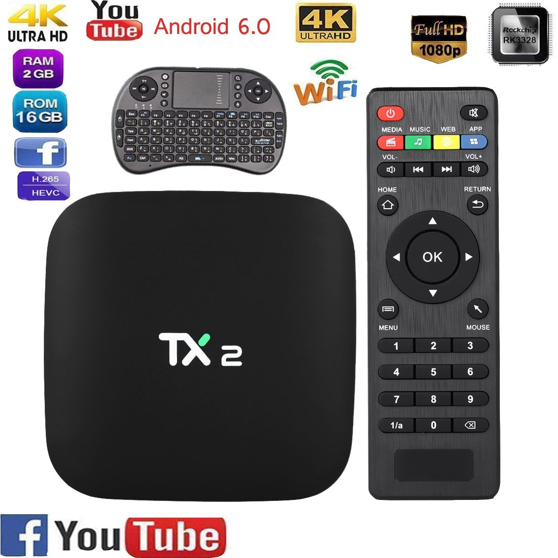 YIMOHWANG TX2 Smart Android 6.0 Smart Tv Box 2GB RAM 16GB ROM 2.4GHz WiFi 4K H.265 DLNA AirPlay 4K Smart TV Box TX2 R1 R2