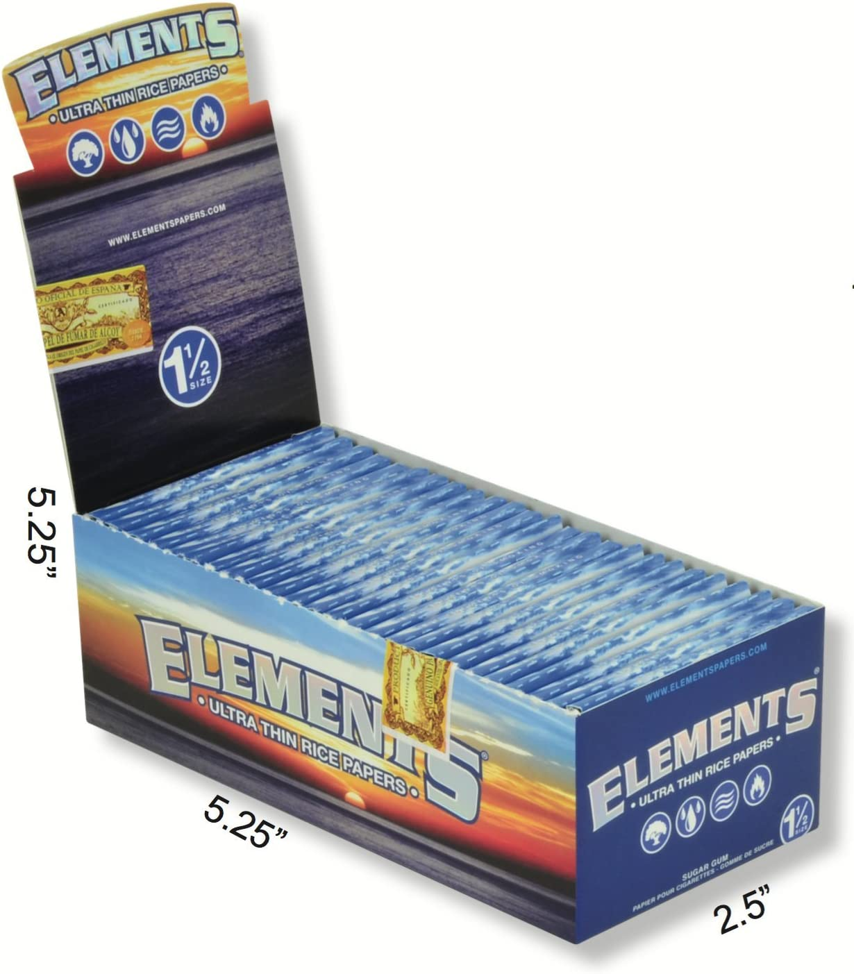 total 825 papers x ELEMENTS Ultra Thin Rice paper size 1 1//2 25 packs 1 box