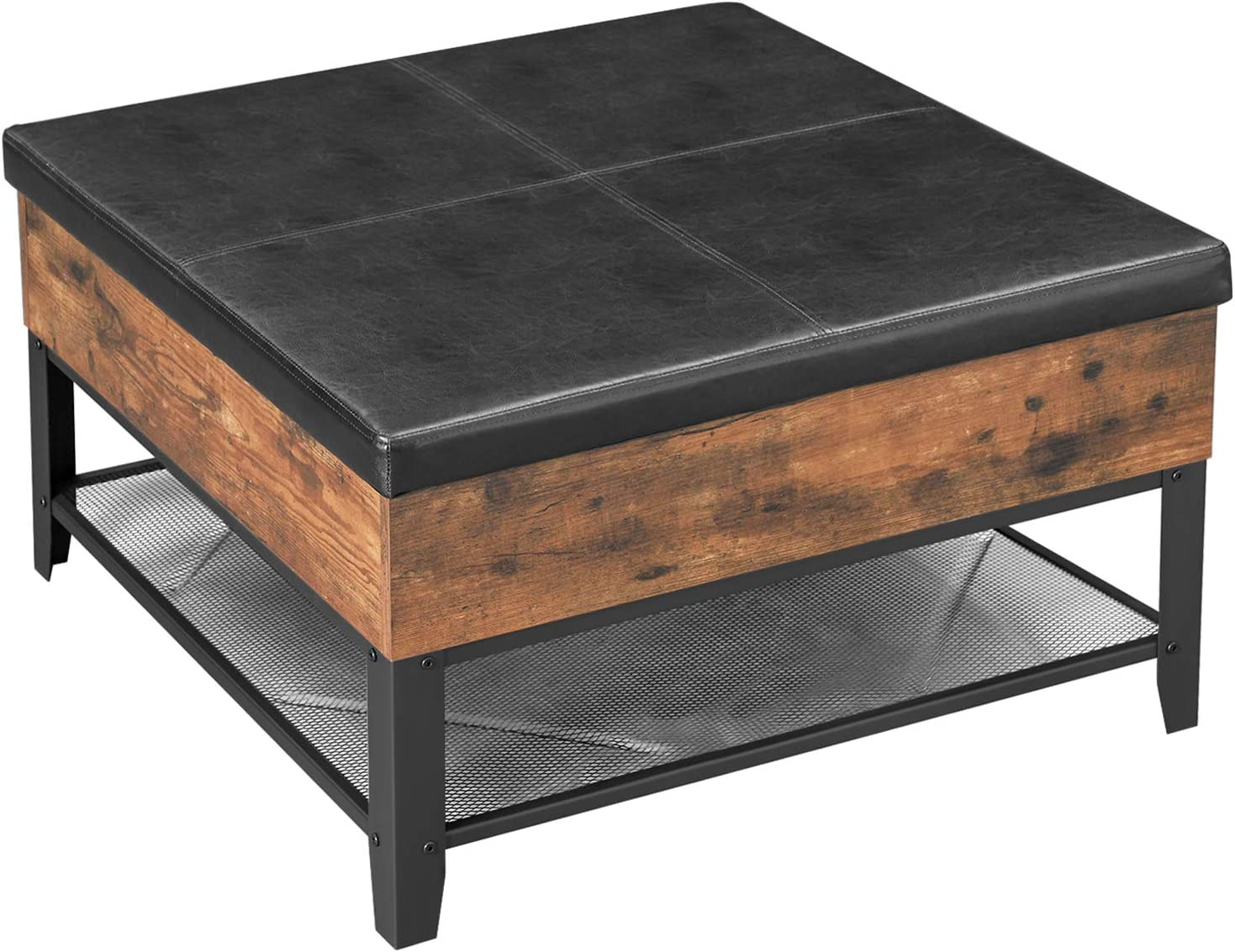 Amazon Com Vasagle Copadion Ottoman Coffee Table Square Coffee Table With Storage For Living Room Metal And Padded Synthetic Leather Industrial Style Rustic Brown Ulct77bx Kitchen Dining