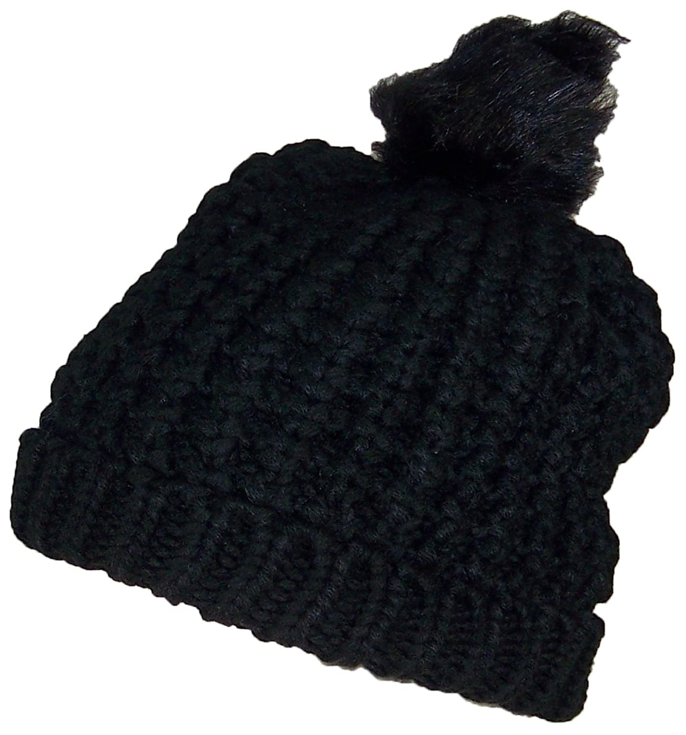 Angela & William Womens Rib Knit Hat W/Soft Lining & Pom Pom (One Size) - Black