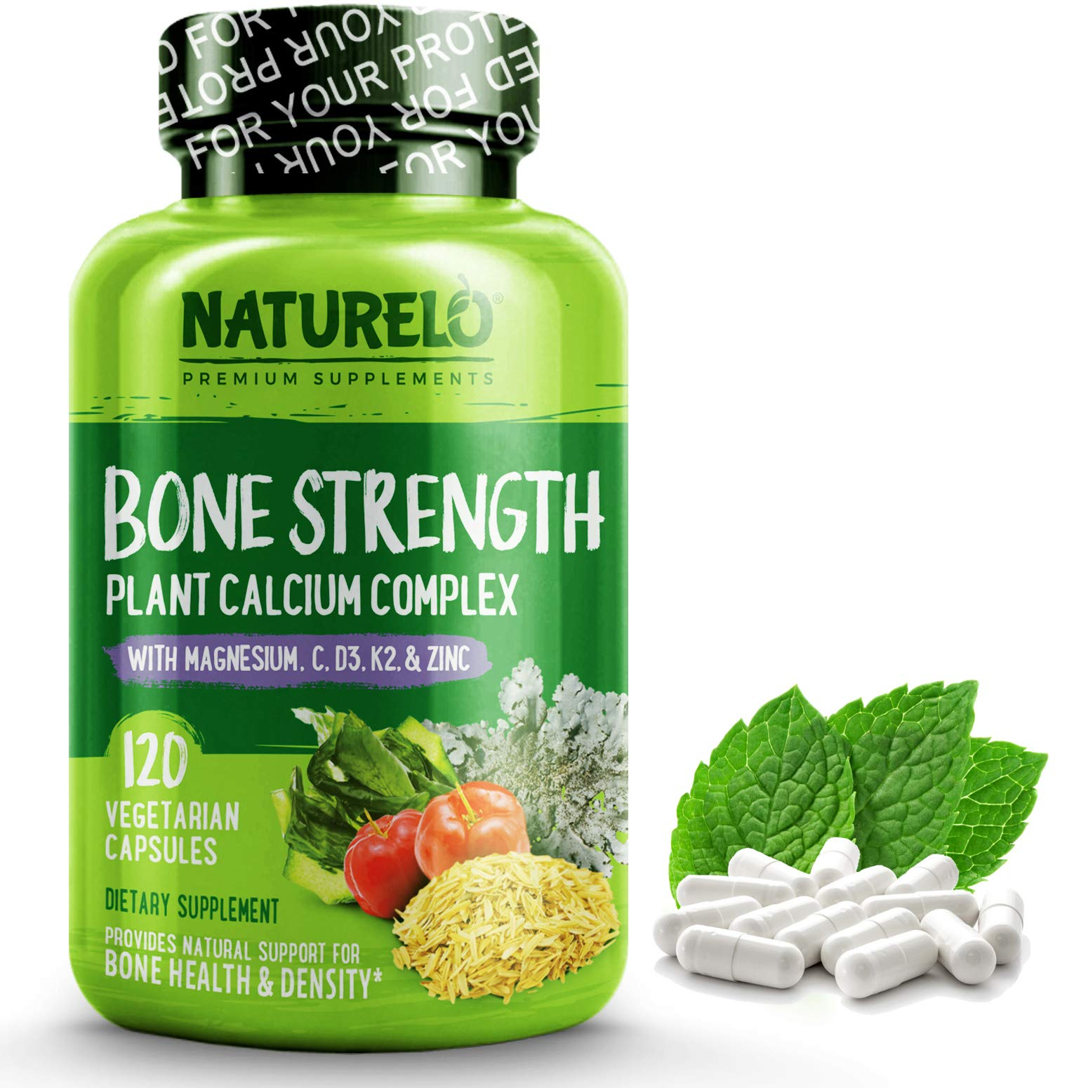 NATURELO Bone Strength - Plant-Based Calcium, Magnesium, Potassium, Vitamin D3, VIT C, K2 - GMO, Soy, Gluten Free Ingredients - Best Whole Food Supplement for Bone Health - 120 Vegetarian Capsules by NATURELO