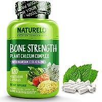 NATURELO Bone Strength - Plant-Based Calcium, Magnesium, Potassium, Vitamin D3,...